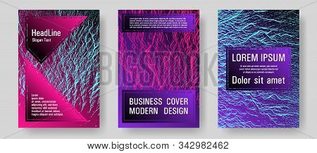 Flyer Poster Vector Graphic Design Set. Pink Blue Purple Synthwave Textures. Buzzing Flux Ripple Mov