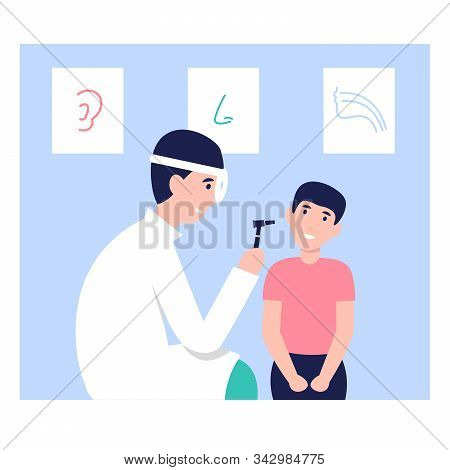 Happy Otolaryngologist Man Doctor With Otoscope And Frontal Reflector Make Ear Examination Child. Fl