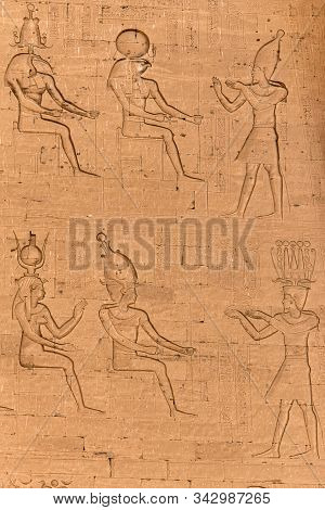 Ancient Egyptian Architecture Ruins. Hieroglyphs And Columns Of The Temple Of Horus At Edfu, In Egyp