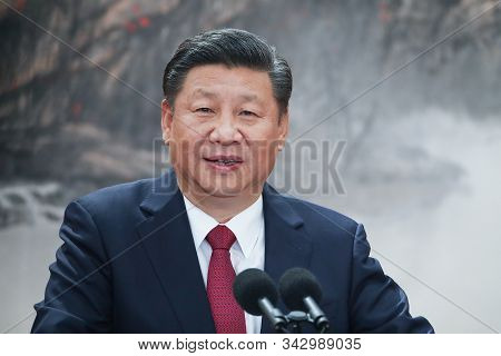 Shanghai,china,october 2019,china President Xi Jinping Talking About China Economy
