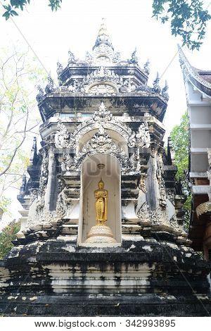 Phayao, Thailand - 21 December, 2019 : Buddha Statue In Bower At Wat Analyo Thipayaram, Phayao Provi