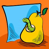 Fun grungy cartoon of friendly worm inside a pear in front of blue paper or sticky note for your text perfect for back to school or other concept. poster
