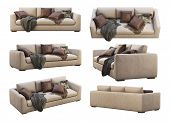8 item furniture collection. Chalet leather sofa. Leather upholstery sofas with pillows and pelts on white background. Chairs. Mid-century, Loft, Chalet, Scandinavian interior. 3d render. Collage poster