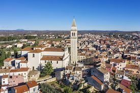 An Aerial View Of Vodnjan, The Parish Church Of St. Blasius With Highest Tower (62 M) In Istria, Cro
