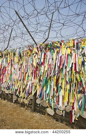 Ribbons left by visitors with hope for unification in Imjingak Park in Paju, South Korea near the DMZ.
