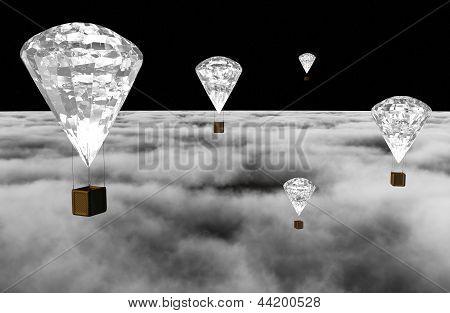 Diamond Hot-air Balloons At Night