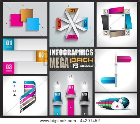 Infographic design templates collectionwith paper tags. Idea to display information, ranking and statistics with orginal and modern style. 8 pieces.