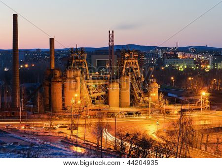 Factory - a museum based by Demidov in 18 century a night-time lighting. City Nizhny Tagil Russia poster