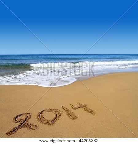 2014  written on sandy beach