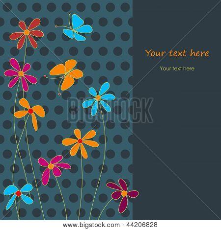 Cute Flowers In The Cartoon Style
