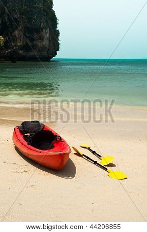 Tropical Beach Landscape With Red Canoe Boat At Ocean Gulf Under Blue Sky. Thailand