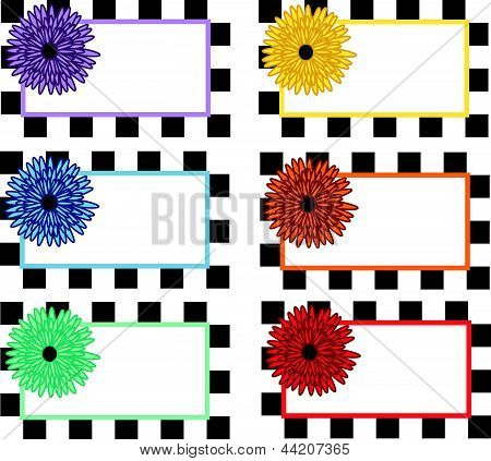 Checkered flower labels
