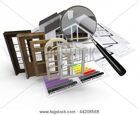 Home construction concept with energy efficiency chart and a selection of doors and windows