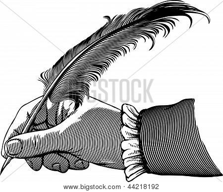 Hand writing with a feather