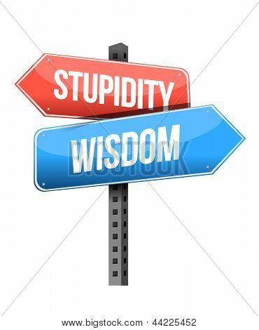 Wisdom, Stupidity Road Sign