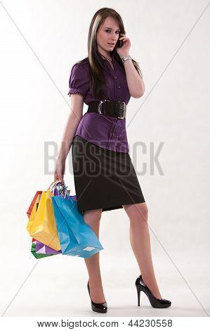 Pretty Fashionable Brunette Caucasian Enjoying Shopping