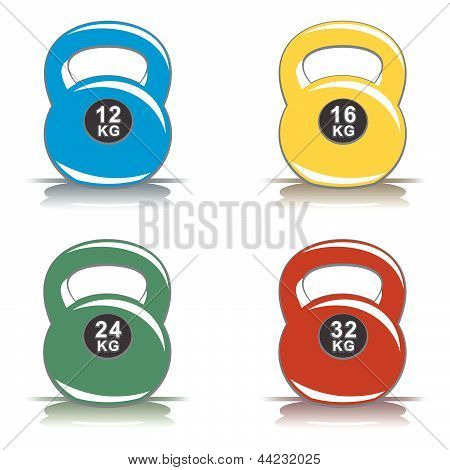 Colored kettlebells on white background
