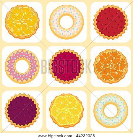 Seamless Pattern With Fruit Pies And Tarts