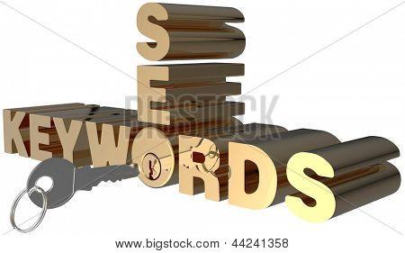 Keywords SEO key open shiny gold lock cylinder
