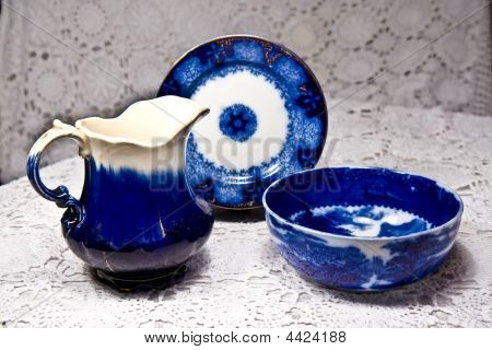 Antique Flo Blue Dishes