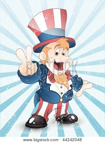 Happy Uncle Sam Grunge Vector