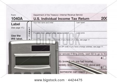 Close Up 1040A Tax Form With Pen