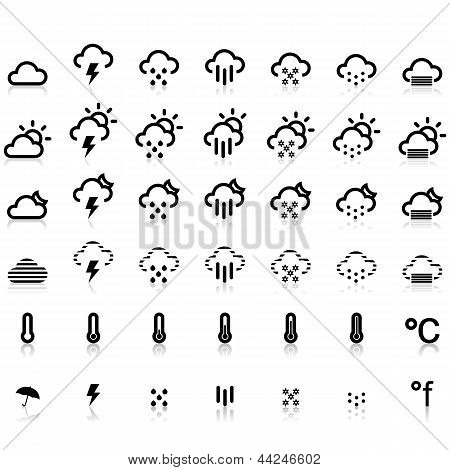 Weather Icons in White Background, Zip includes 300 dpi JPG, Illustrator CS, EPS10. Vector with  transparency. poster