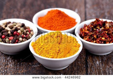 Spices Curry, Peppers Mix and paprika in in ceramic bowl poster