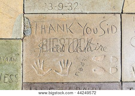 Fred Astaires Handprints In Hollywood Boulevard In The Concrete Of Chinese Theatre's Forecourt