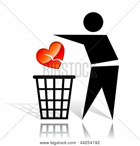 Conceptual icon with recycling sign and broken heart poster