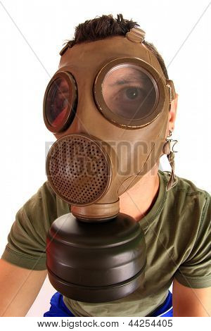 architect with gas mask, polution chemical concept