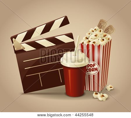 Cinematography. Movie clapperboard, popcorn and cola