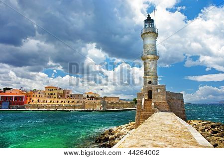 Chania port, view with light house. Crete. Greece