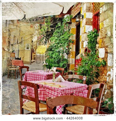 charming streets of greek islands with traditional tavernas