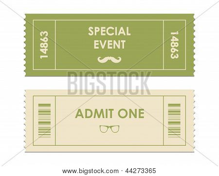Vector Paper Ticket With Hipster Elements