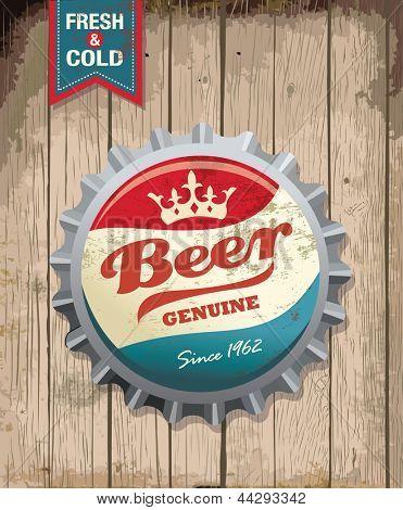 illustration of vintage beer bottle cap with wooden background