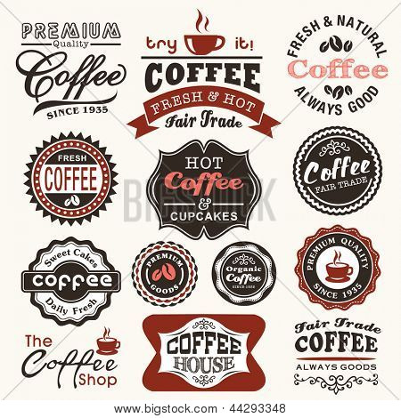 Collection of vintage retro coffee badges and labels