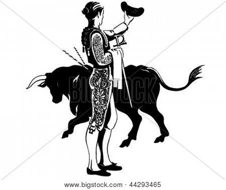 Matador With Bull - Retro Clip Art Illustration