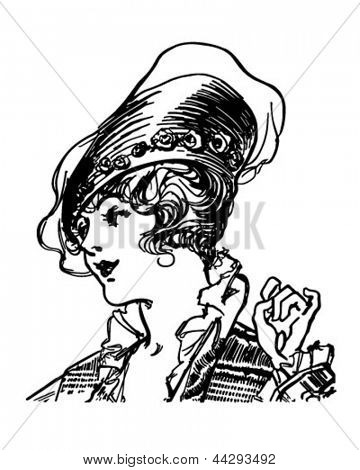 Fashionable Early Century Gal - Retro Clip Art Illustration