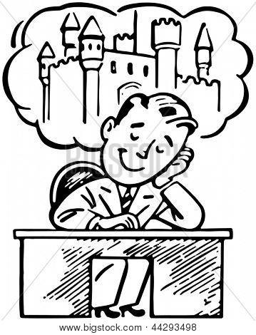 Man Daydreaming - Retro Clip Art Illustration