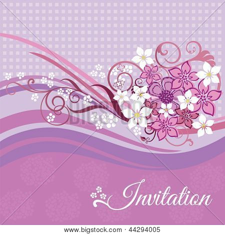 Invitation card with pink and white flowers on pink background. This image is a vector illustration.