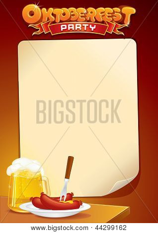 Oktoberfest Background with Beer and Food. Template of Poster or Sign