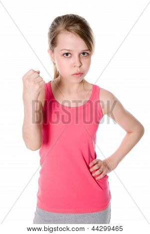 Gloomy Portrait Young Girls, Shows Fist