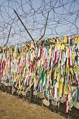 Ribbons left by visitors with hope for unification in Imjingak Park in Paju, South Korea near the DMZ. poster