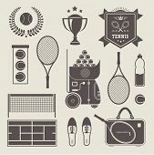 Vector illustration of various stylized tennis icons poster