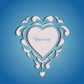 Paper cutout card with heart and space for your text poster