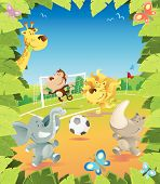 Illustration of a Fun Jungle Border with lots of animals enjoying a fun game of football. poster