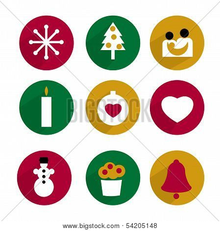 Collection of Christmas icon. Modern background.