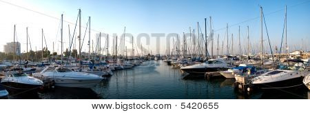 Series Of Panoramic Images From The Harbor With Yachts At Dusk