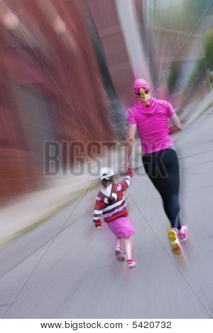 Mother & Daughter Jogging
